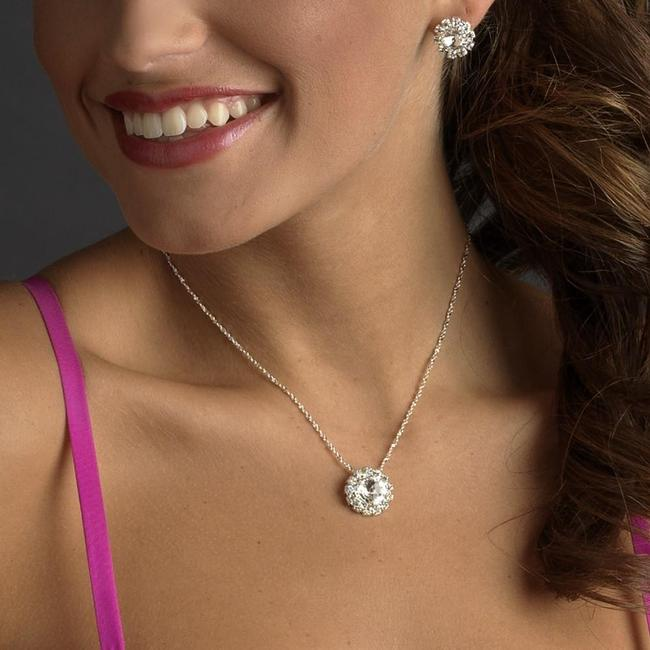Item - Silver Or Gold Clear Rhinestone Necklace Earring Jewelry Set