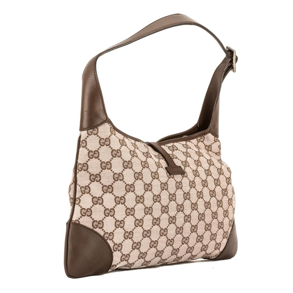 ad9b95a000ca Gucci Jackie Pink and Brown Gg Jacquard Guccisima Pre Owned Multi ...