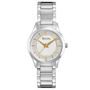 Bulova 96L175 Women's Silver Steel Band With Off White Analog Dial Watch