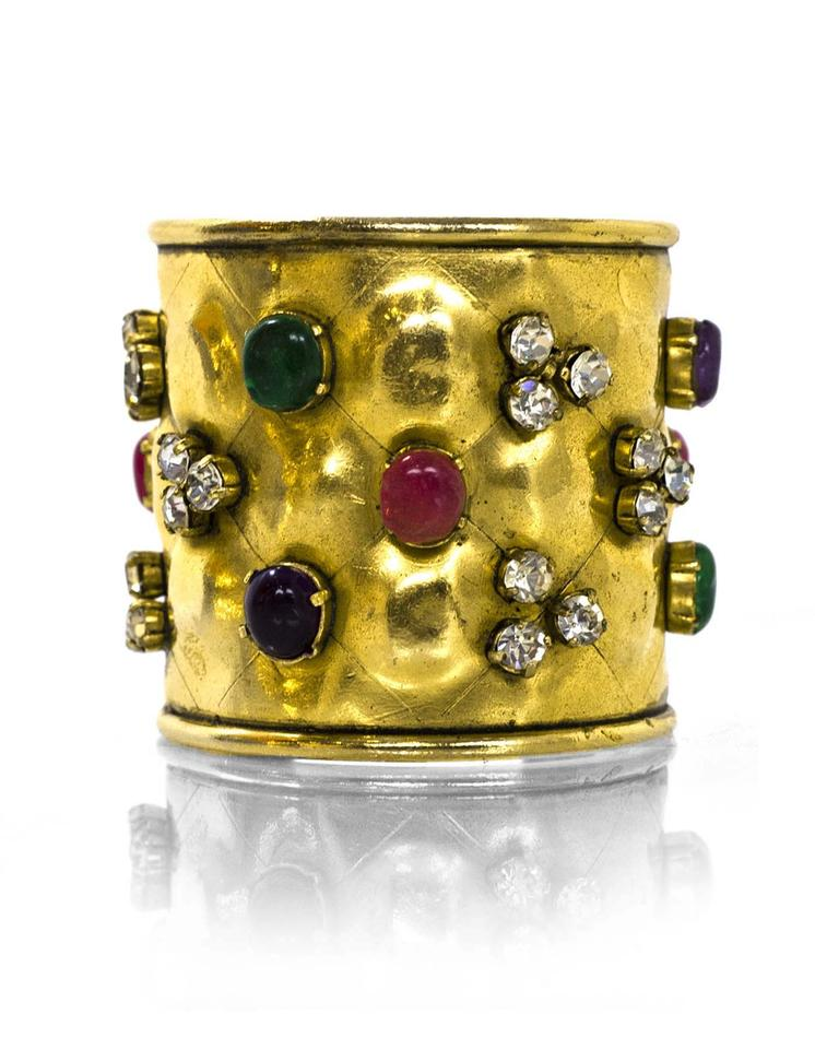 1cf1c05e255 Chanel Chanel Vintage Quilted Goldtone Cuff with Multi-Color Gripoix Stones  Image 0 ...