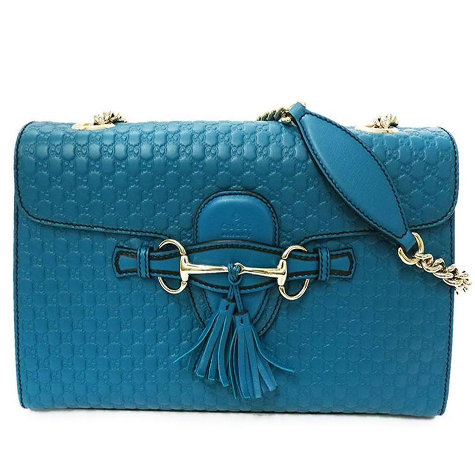 3403b4e75b1 Gucci Emily Medium Chain Deep Cobalt Blue Leather Shoulder Bag - Tradesy