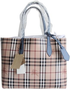 Burberry Reversible Leather Tote in Slate Blue