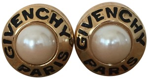 Givenchy Vintage Gold Pearl Logo Clip Earrings