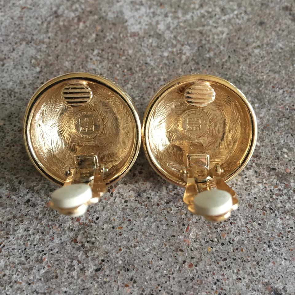 Givenchy Vintage Gold Pearl Logo Clip Earrings 123456
