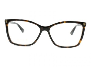 Gucci NEW Gucci 0025O Havana Brown Cat Eye Logo Gold Eyeglasses Frames