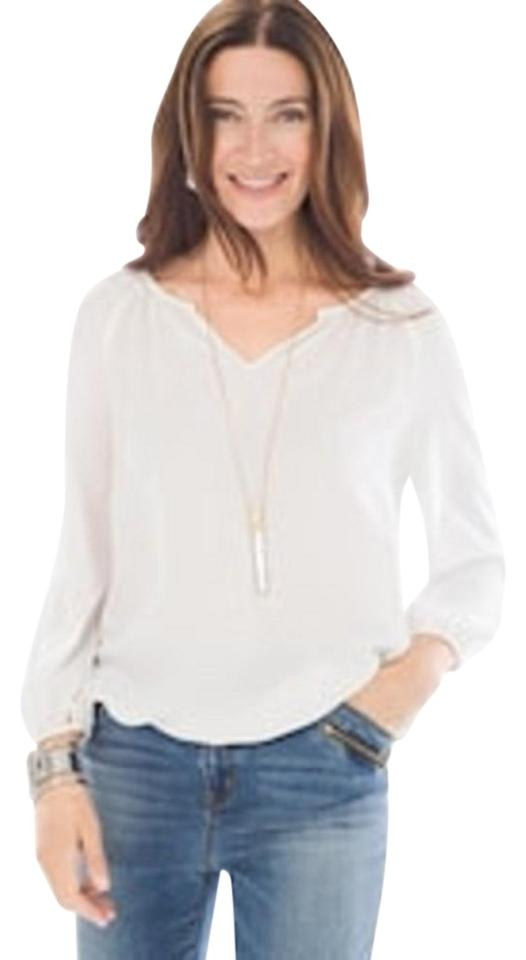 ae4b09fbed1 Chico's Antique White Everyday Peasant Blouse Size 12 (L) - Tradesy