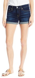 7 For All Mankind Five Pocket Styling 3-inch Inseam Mini/Short Shorts Blue
