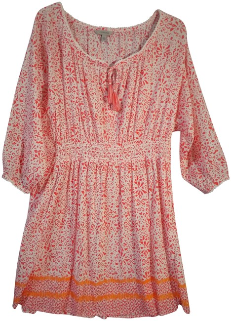 Item - Orange and White #983386 Printed Calicosafr Mid-length Short Casual Dress Size 20 (Plus 1x)