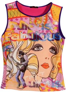 Nally & Millie Rhinestones Graphic Tee Rock Roll Top Pink and multi