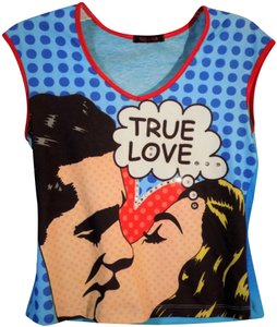 Nally & Millie Rhinestones Graphic Tee Love Polka Dot Bright Colors Top red and blue