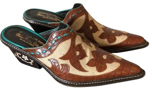 Donald J. Pliner brown turquoise Mules
