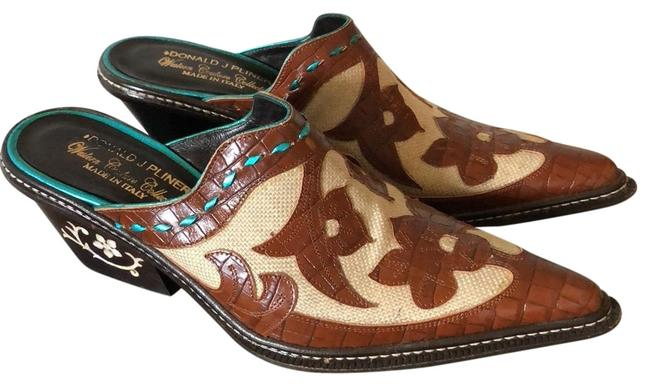 Item - Brown Turquoise Western Couture Collection Mules/Slides Size US 7.5 Regular (M, B)