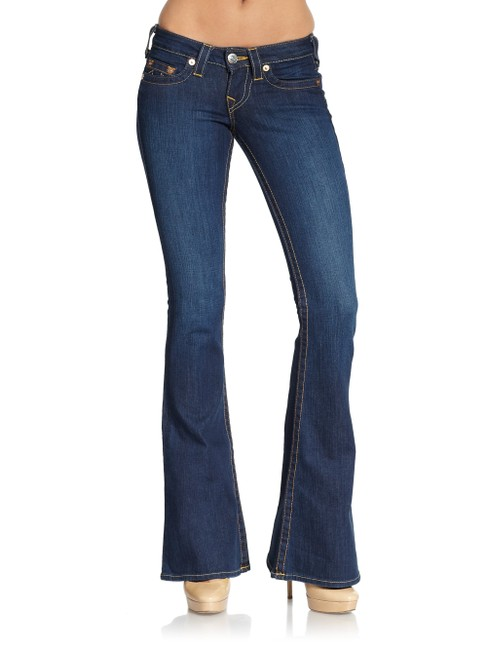 Item - Blue Dark Rinse Carrie Flare Leg Jeans Size 24 (0, XS)