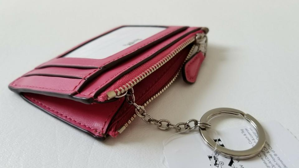 brand new e196c c12d8 Coach Pink New Signature Logo Id Card Case Holder Key Coins Purse Pouch  Wallet