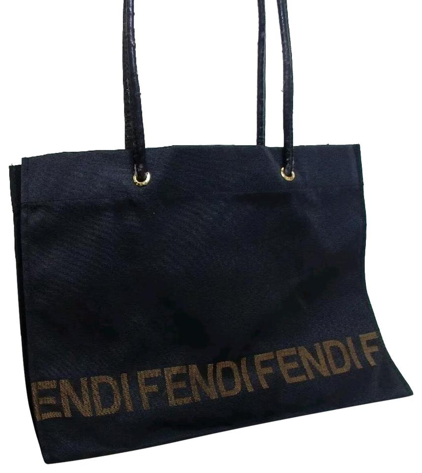 83b125bcf6dd Fendi New with Matching Pouch Black Gold Nylon Leather Tote - Tradesy