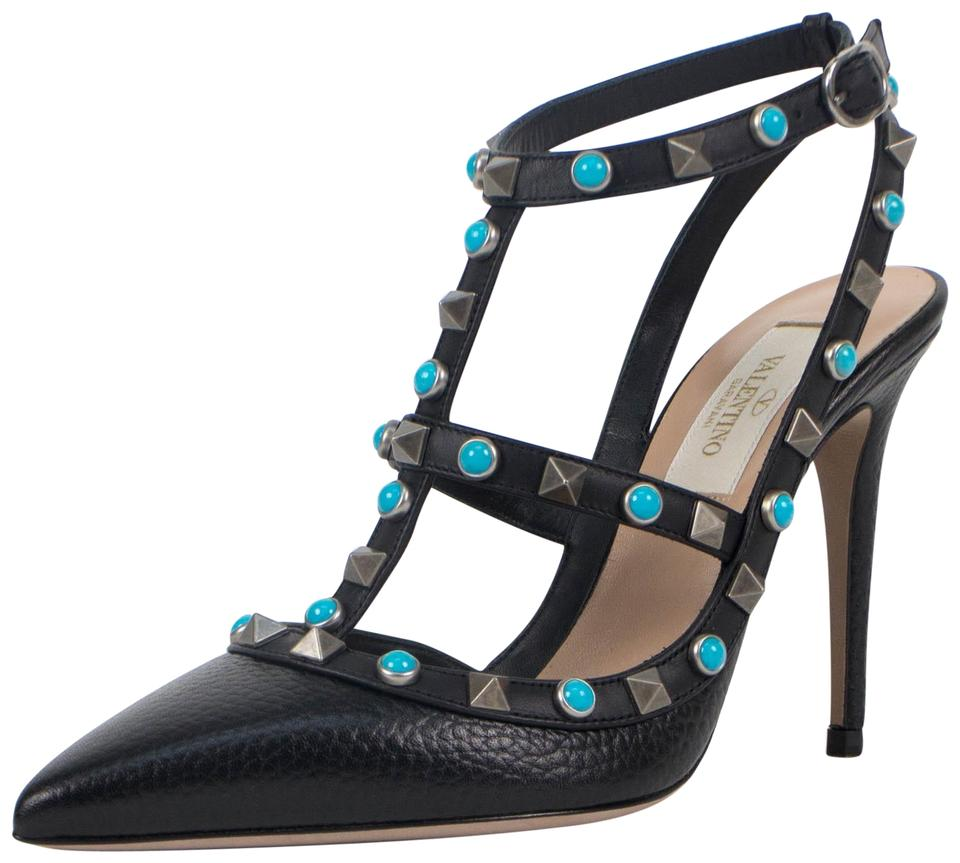 Valentino Black Stone Leather Rockstud Rolling Turquoise Stone Black Heels Pumps a1dc81