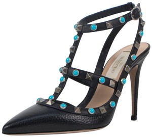 Valentino Leather Rockstud Stone Pointed Toe Ankle Strap Black Pumps