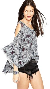 Free People Top Gray, Brown, Blue, White