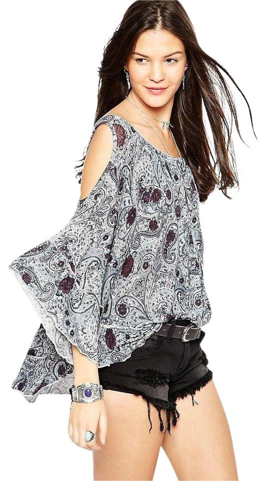 f7be1c40354 Free People Gray Brown Blue White Chloe Hummingbird Cold Shoulder Blouse