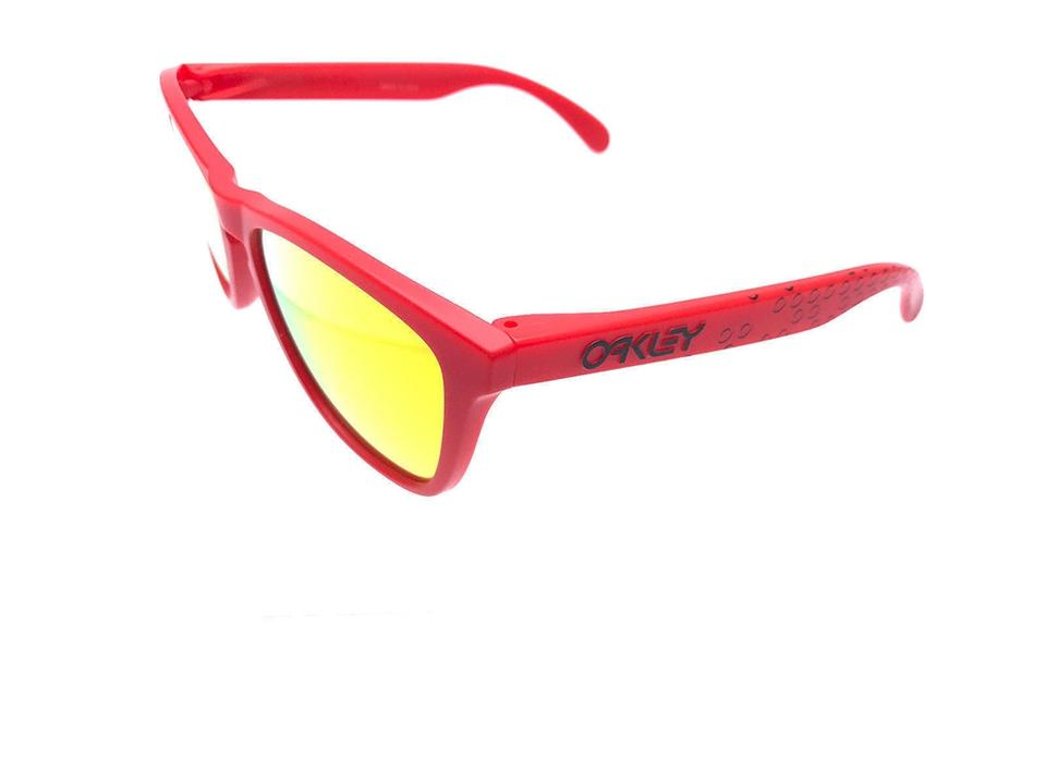 5f7f11b59a6 Oakley New OAKLEY Unisex Sunglasses OO9013-48 Red Frame Yellow Mirrored Lens  ...
