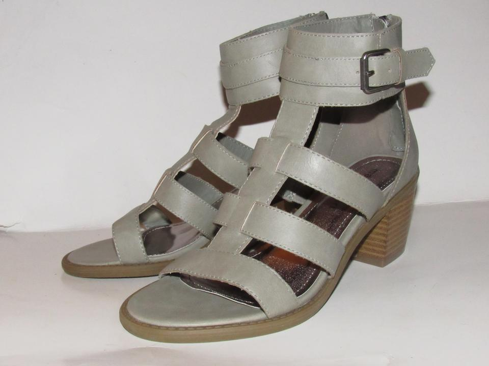 080eeaa7c62 Madden Girl Grey Leather Strappy T-strap Chrome Buckles Shoes New In ...