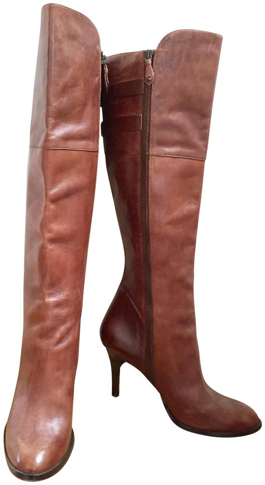 Cole Haan Brown Leather Tall Saddle High-heeled Buckle Detail Nikeair Boots  Booties 3ced28d95