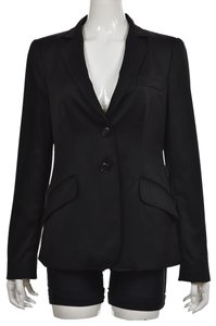 Armani Collezioni Wool Pockets Buttons Longsleeve Career Black Blazer