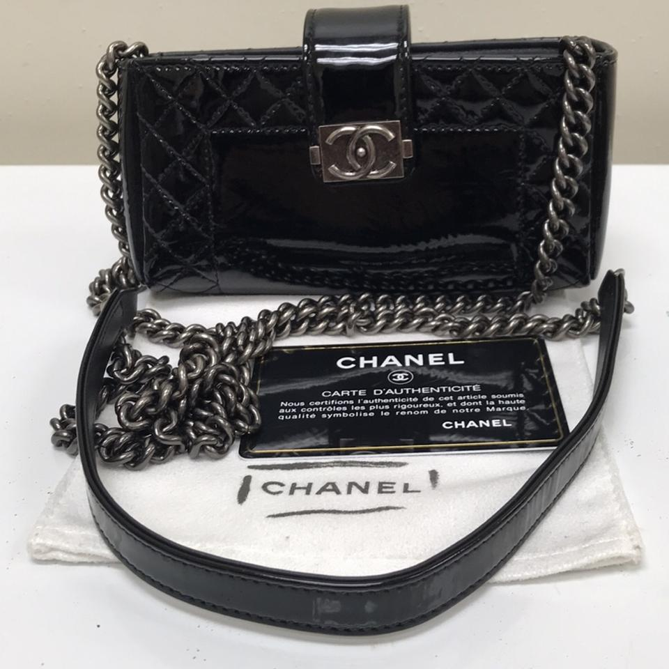 764d6731 Chanel Boy Reverso Mini Pochette Black Patent Leather Cross Body Bag