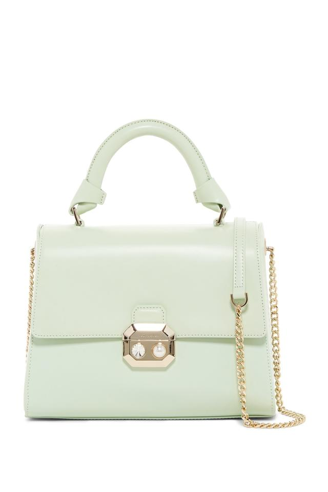 512dd37b71c14 Ted Baker Verina Crystal   Imitation Pearl Green Leather Satchel ...
