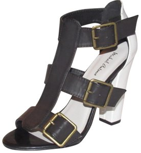 "Michael Antonio Dressy Or Casual Style Chic European Look 'jaimica' Style Size 8 W/ 4.5"" Heel black and white leather strappy t-strap sandals with brass buckles Sandals"