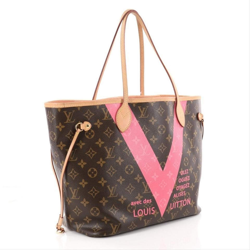 cdafd8cc88a0 Louis Vuitton Neverfull Nm Limited Edition Cities V Monogram Mm Brown  Canvas Tote - Tradesy