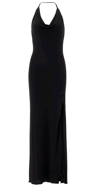 Item - Black Halter Sheath Cowl Maxi Cocktail Casual Ball Gown Long Formal Dress Size 4 (S)