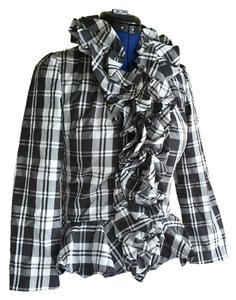 Boston Proper Two Of These Nib Top Black & White Plaid
