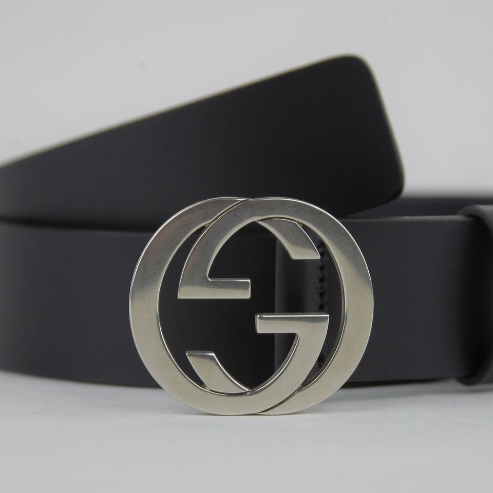 6e1a180253b Gucci Midnight Blue Leather Silver Interlocking G Buckle 95 38 368186 Bgh0n  4009 Belt