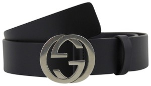 Gucci Leather Belt Silver Interlocking G Buckle 110/44 368186 BGH0N 4009