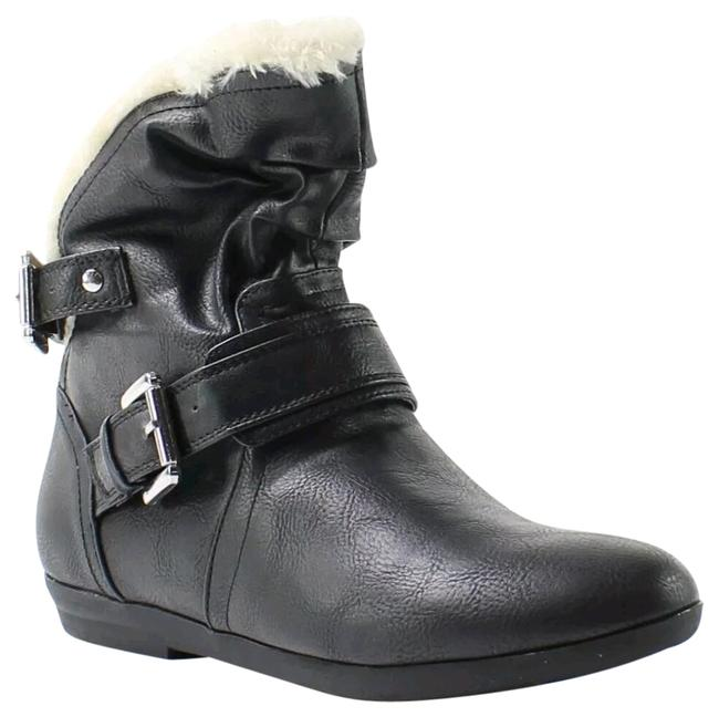 Item - Black Cream New Round Toe Ankle Pull On Fur Lined Buckle Bodana Boots/Booties Size US 6.5 Regular (M, B)