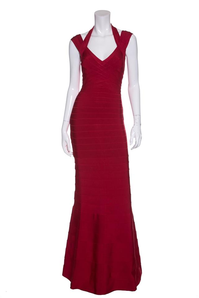 Hervé Leger Red Paneled Stretch Knit Bandage Gown Long Formal Dress ...