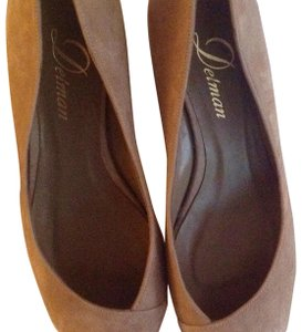 Delman Suede Toe Cap Detail Low Heel Made In Spain taupe Wedges