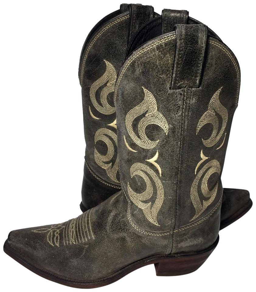 78418363b2f Justin Boots Gray Distressed Leather Western Cowboy Cowgirl Women s B Boots  Booties