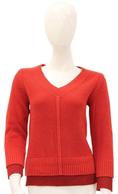 Item - Cashmere Wool Waffle Knit Red Sweater
