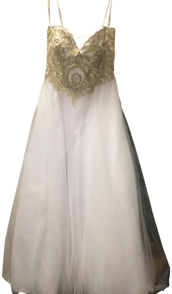 CLARISSE White/ Gold Princess Gown Long Formal Dress Size 4 (S ...