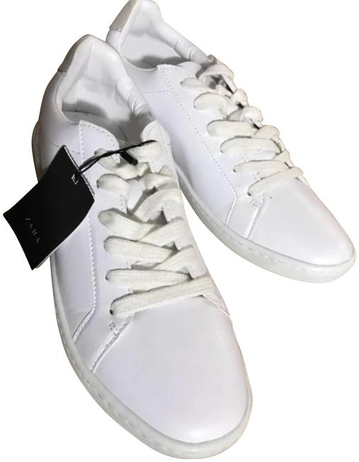 Item - White Lace Up Sneakers Flats Size US 10 Regular (M, B)