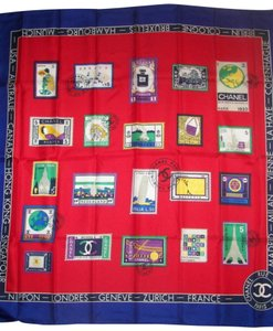 Chanel RARE VINTAGE CHANEL SILK STAMPS OF THE WORLD SCARF