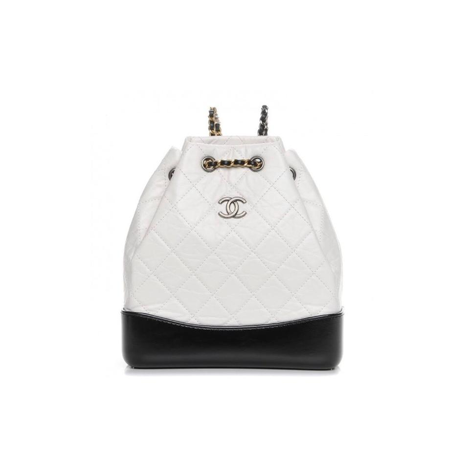 c984e89b460bae Chanel Gabrielle Medium Black & White Aged Calfskin Leather Backpack ...