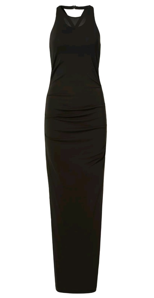 Nicole Miller Black Lined Sleeveless Sheath Maxi Ball Prom Gown ...