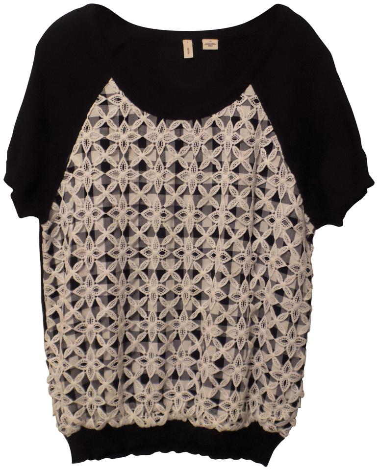 6561c0e9f58a Anthropologie New Moth Gingham Check Lace Overlay Knit L Black White ...