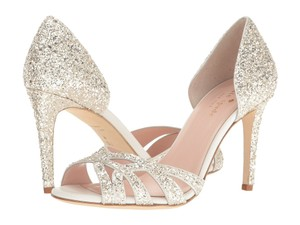 Kate Spade Glitter Open Toe Pump Evening Off White Formal