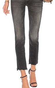 Mother Distressed Raw Edgy Anthropologie Straight Leg Jeans-Dark Rinse