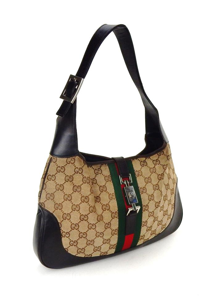 ce15353642c Gucci Jackie Vintage Hobo Brown Web Gg Monogram Canvas Leather ...