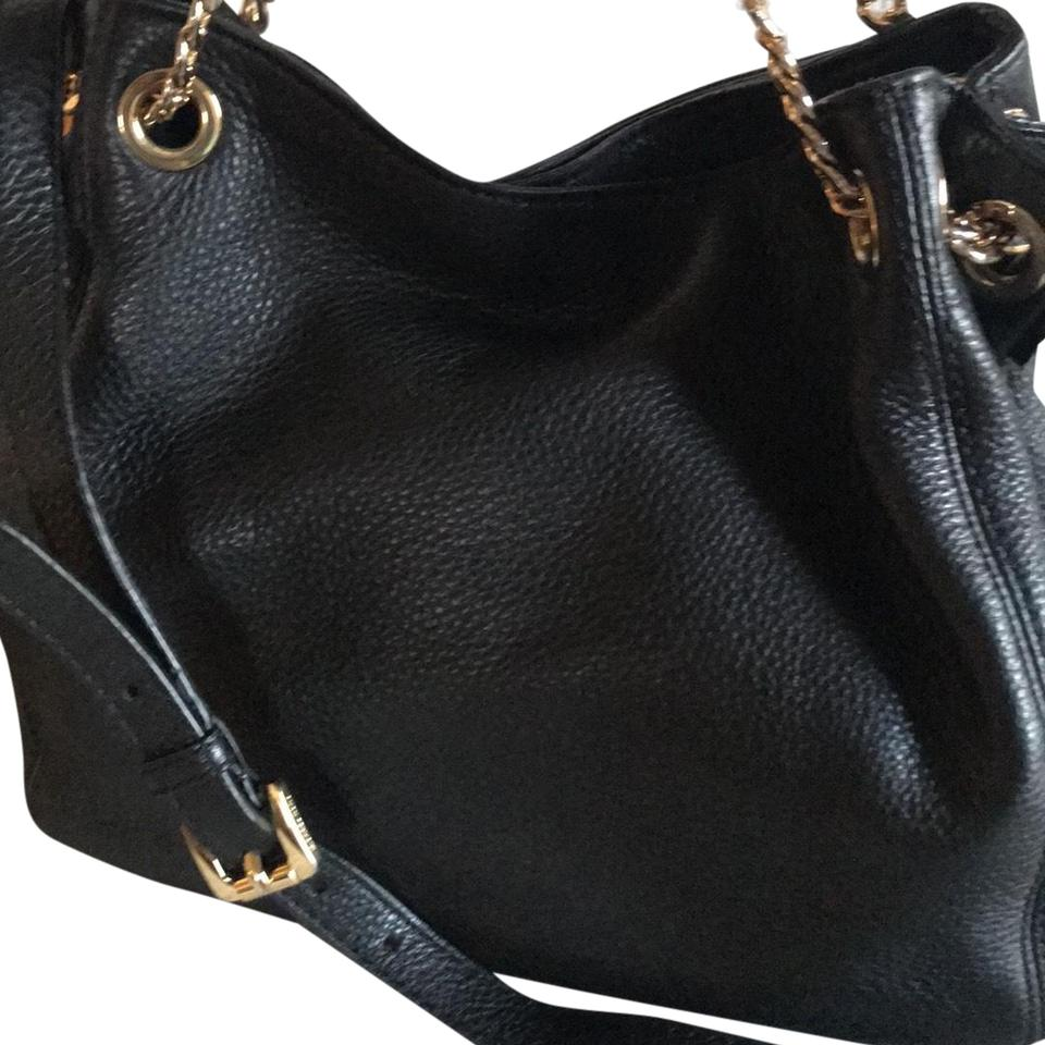 9ea6f70459fb5b Michael Kors Shoulder Mk Chained Tassel Or Black Leather with Gold ...